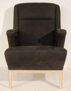 Unique Club Chair with Bronze Base Cutouts - 261054