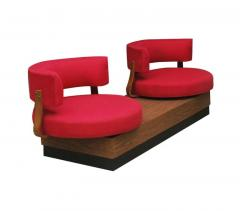 Unique Mid Century Modern Red Swivel Lounge Chairs Sofa on Platform Base - 1738925