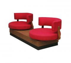 Unique Mid Century Modern Red Swivel Lounge Chairs Sofa on Platform Base - 1738927
