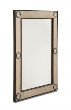 Unique mirror with a parchemin gauffr frame and rock crystals inserts  - 1851174