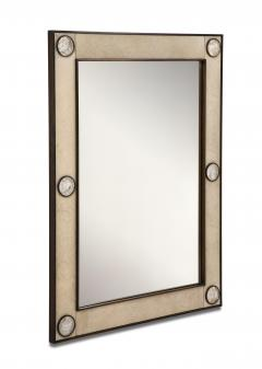 Unique mirror with a parchemin gauffr frame and rock crystals inserts  - 1851176