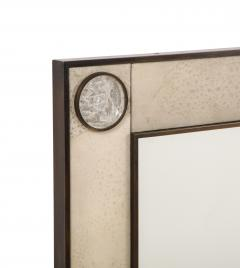 Unique mirror with a parchemin gauffr frame and rock crystals inserts  - 1851179