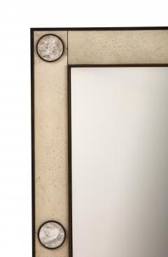 Unique mirror with a parchemin gauffr frame and rock crystals inserts  - 1851182