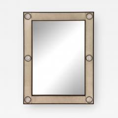 Unique mirror with a parchemin gauffr frame and rock crystals inserts  - 1852518