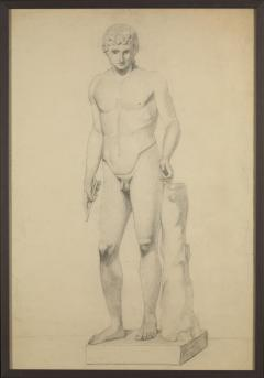 Unknown Academy Student 19th C Drawing Pencil on paper framed signed  - 1924317