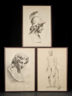 Unknown Academy Student 19th C Drawing Pencil on paper framed signed  - 1924318
