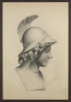 Unknown Academy Student 19th C Drawing Pencil on paper framed signed  - 1924319