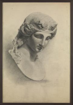 Unknown Academy Student 19th C Drawing Pencil on paper framed signed  - 1924320