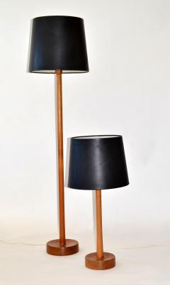 Uno Osten Kristiansson Floor Lamp in Teak Wood with Leather Shade by Uno Osten Kristiansson - 677297