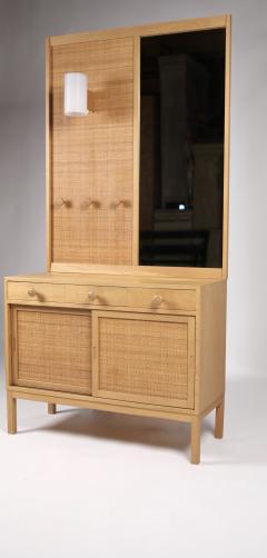 Uno Osten Kristiansson Uno sten Kristiansson Oak Cane Chest Mirror for Luxus Sweden 1960s - 1613684