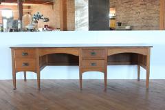 Unusual Antique School Double Oak Desk - 1365126