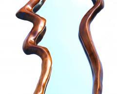 Unusual Danish Modern Studio Sculpted Sculptural long Wall Mirror Mantel - 1816469