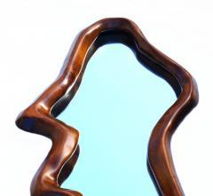 Unusual Danish Modern Studio Sculpted Sculptural long Wall Mirror Mantel - 1816472