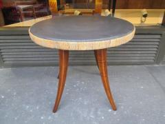 unusual french 1940s marble top table with jute apron on splayed legs - Marble Top Table