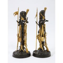 Unusual Pair of French Ormolu and Patinated Bronze Military Candlesticks - 1217827
