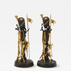 Unusual Pair of French Ormolu and Patinated Bronze Military Candlesticks - 1218744