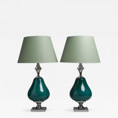 Unusual Pair Of Teal Ceramic And Nickel Table Lamps 1960s