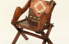 Unusual Patinated Oak Arts Crafts Side Chair with Vintage Navajo Fabric - 953650