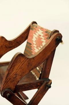 Unusual Patinated Oak Arts Crafts Side Chair with Vintage Navajo Fabric - 953651