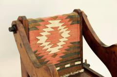 Unusual Patinated Oak Arts Crafts Side Chair with Vintage Navajo Fabric - 953652