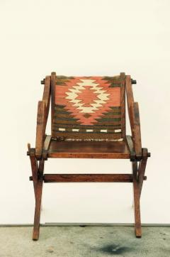 Unusual Patinated Oak Arts Crafts Side Chair with Vintage Navajo Fabric - 953653