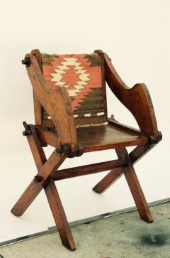 Unusual Patinated Oak Arts Crafts Side Chair with Vintage Navajo Fabric - 953654