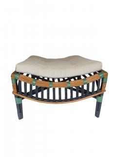Unusual Twin Reed Lounge Chair and Ottoman - 592755