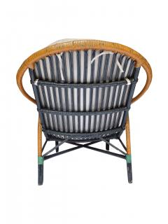 Unusual Twin Reed Lounge Chair and Ottoman - 592756