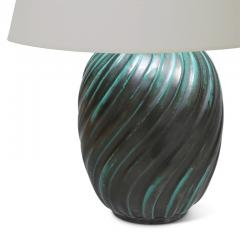 Upsala Ekeby Blueish green swirl table lamp by Ana Lisa Thomson - 980593