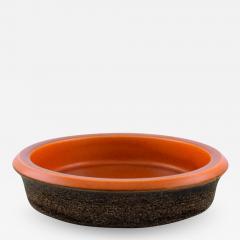 Upsala Ekeby Dish in glazed stoneware Glaze in brown and orange shades - 1349957