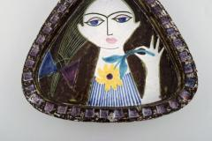 Upsala Ekeby Dish in glazed stoneware with portrait of woman - 1348855