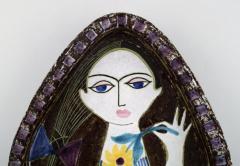 Upsala Ekeby Dish in glazed stoneware with portrait of woman - 1348857