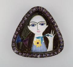 Upsala Ekeby Dish in glazed stoneware with portrait of woman - 1348861