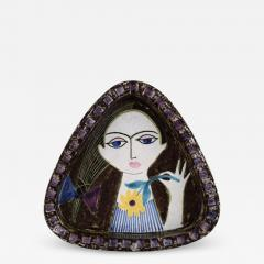 Upsala Ekeby Dish in glazed stoneware with portrait of woman - 1349961
