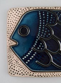Upsala Ekeby Glazed ceramic wall plaque decorated with fish - 1348799