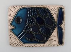 Upsala Ekeby Glazed ceramic wall plaque decorated with fish - 1348805