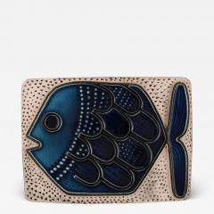 Upsala Ekeby Glazed ceramic wall plaque decorated with fish - 1349952