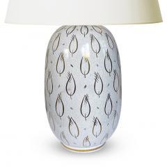 Upsala Ekeby Lamp With Gilded Leaf Motif by Upsala Ekeby - 2074772