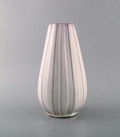 Upsala Ekeby Vase in white glazed ceramics Ribbed design - 1348881