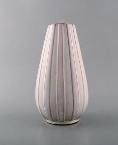 Upsala Ekeby Vase in white glazed ceramics Ribbed design - 1348883