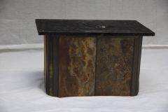 V Ramburrem Slate and Bronze Coffee Table by V Ramburrem Paul Kingma Style circa 1985 - 572483