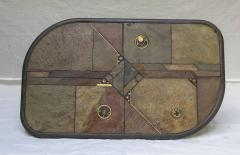 V Ramburrem Slate and Bronze Coffee Table by V Ramburrem Paul Kingma Style circa 1985 - 572485
