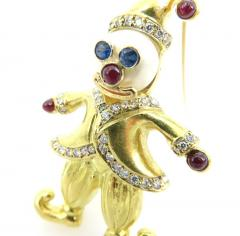 VINTAGE 18KT GOLD CLOWN PIN WITH PEARLS AND PRECIOUS STONES - 1124094