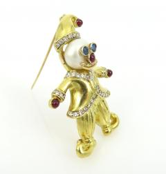 VINTAGE 18KT GOLD CLOWN PIN WITH PEARLS AND PRECIOUS STONES - 1124096