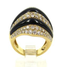 VINTAGE 18KT GOLD ONYX DIAMOND RING - 1089510
