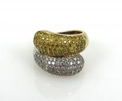 VINTAGE 18KT YELLOW AND WHITE GOLD DIAMOND YELLOW SAPPHIRE SNAKE TYPE RING - 1124293