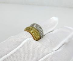 VINTAGE 18KT YELLOW AND WHITE GOLD DIAMOND YELLOW SAPPHIRE SNAKE TYPE RING - 1124302