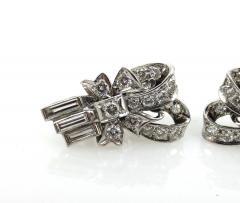 VINTAGE 1950S PLATINUM DIAMOND RIBBON EARRINGS - 1089756