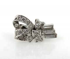 VINTAGE 1950S PLATINUM DIAMOND RIBBON EARRINGS - 1089757