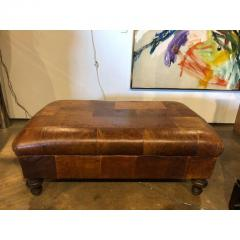 VINTAGE ENGLISH LEATHER PATCHWORK OTTOMAN OR BENCH - 1046512